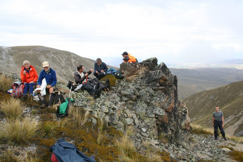 Our amazing team of botanists on the day never stopped botanising, not even when eating lunch! Ida Range, Otago. Photo by Heidi Meudt @ Te Papa.