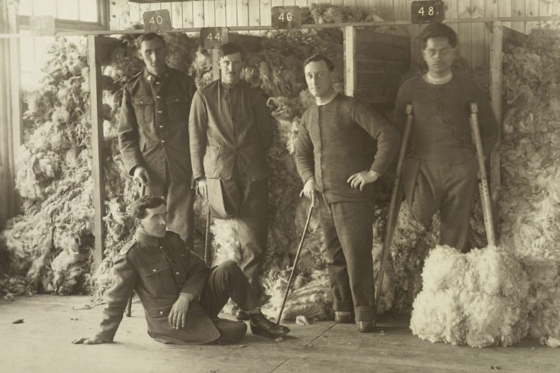 Five unidentified WWI soldiers posing in front of piles of sheep fleeces