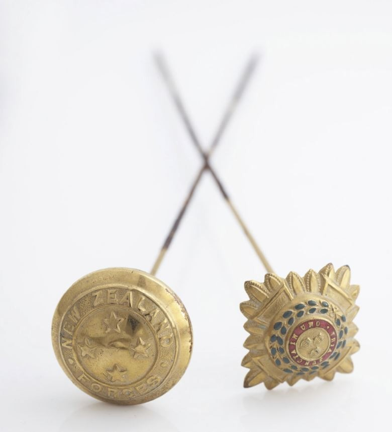Hat pin made from officer's rank insignia