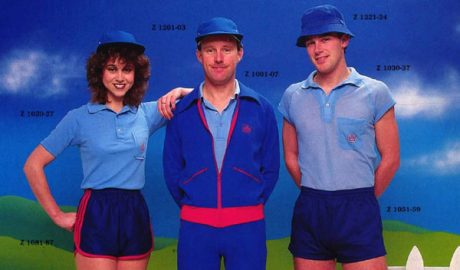 A catalogue photo from the 1980s of postie in blue tracksuit uniforms