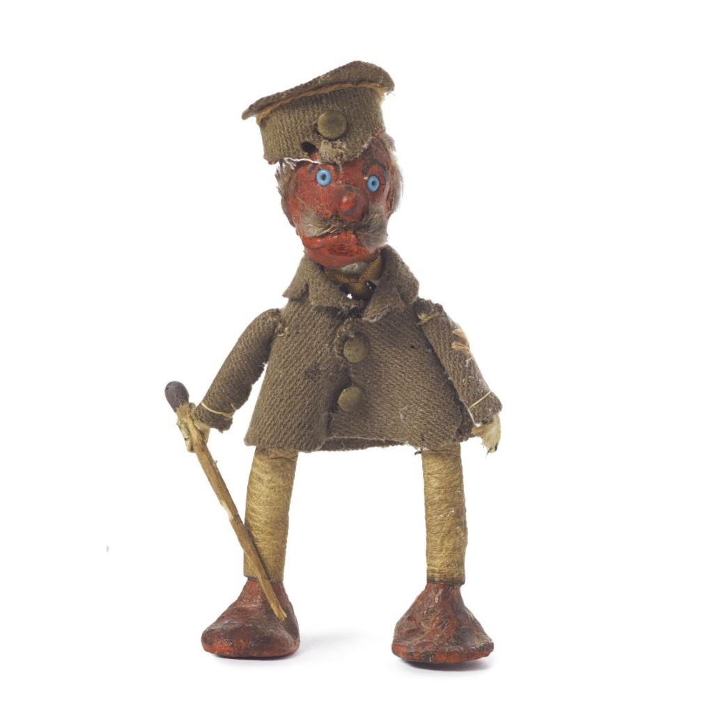 Soldier doll made from a chicken bone