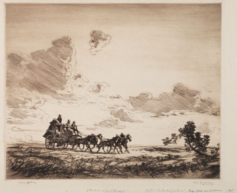 A lone stagecoach crosses the vast outback expanse. It's pulled by five horses, cantering majestically through the scrubby bush, denoted by a deft weave of abstract lines.