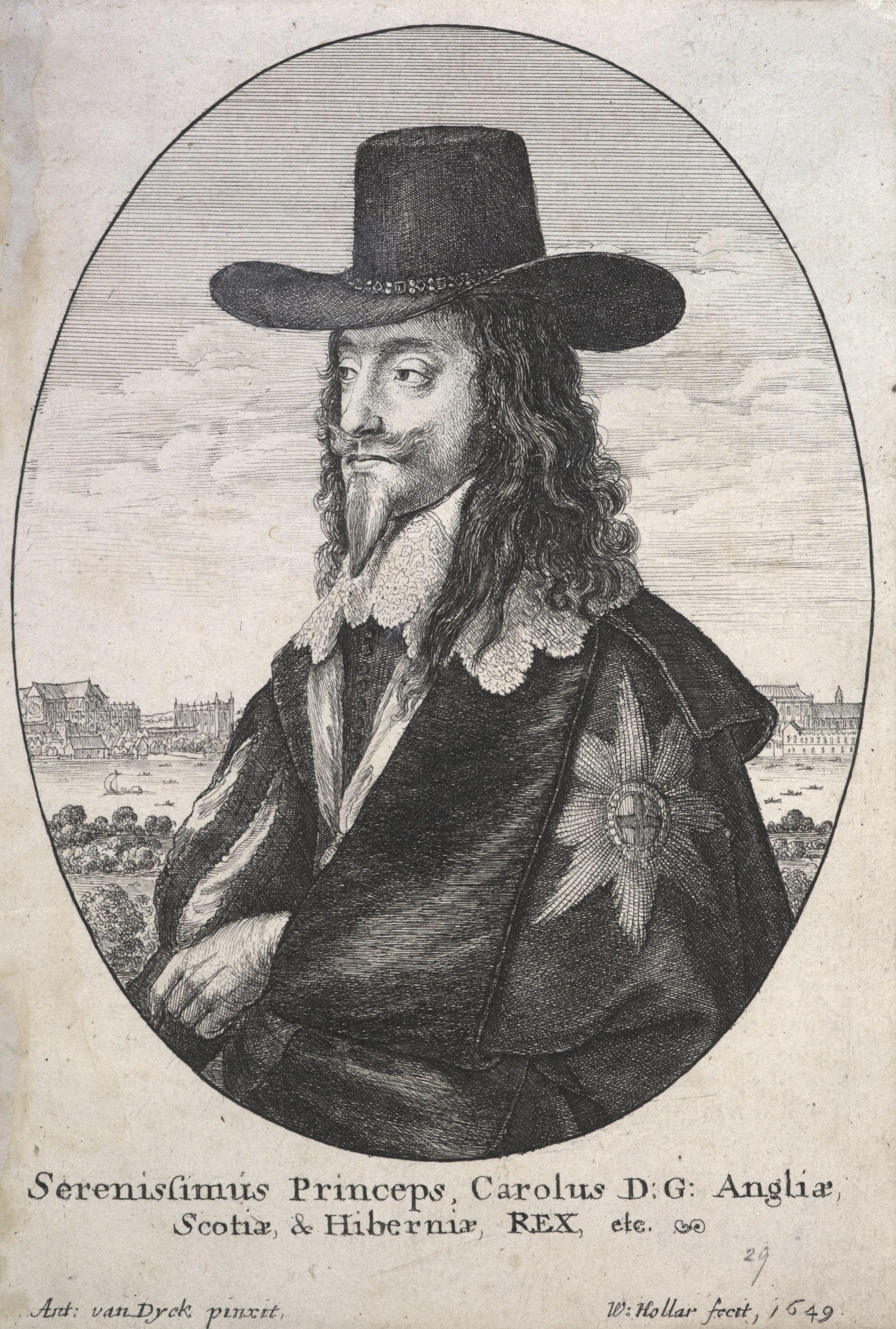 Etching of Charles I in a black cape and hat, he has a pointy beard