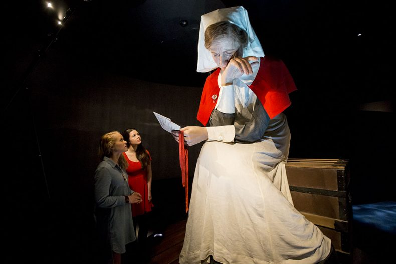 Larger-than-life model of nurse in the Gallipoli exhibition space