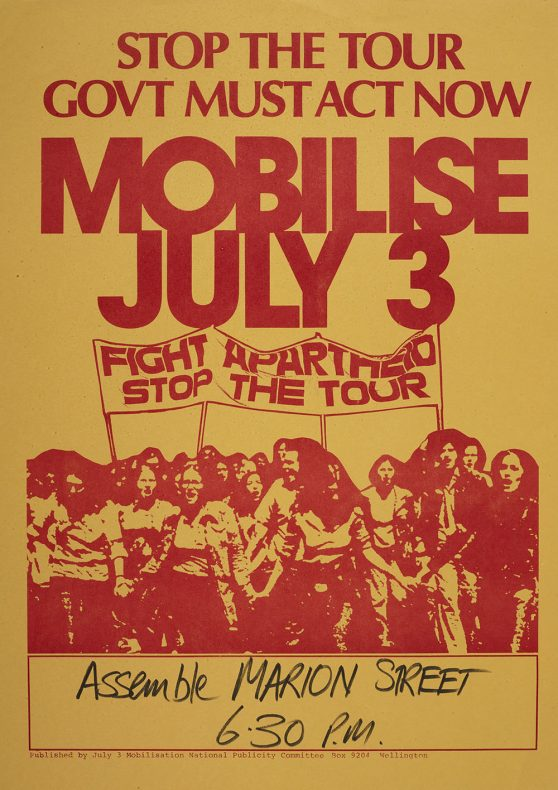 Poster with the words 'Stop the tour government must act now mobilise July 3' and a photo of an earlier protest