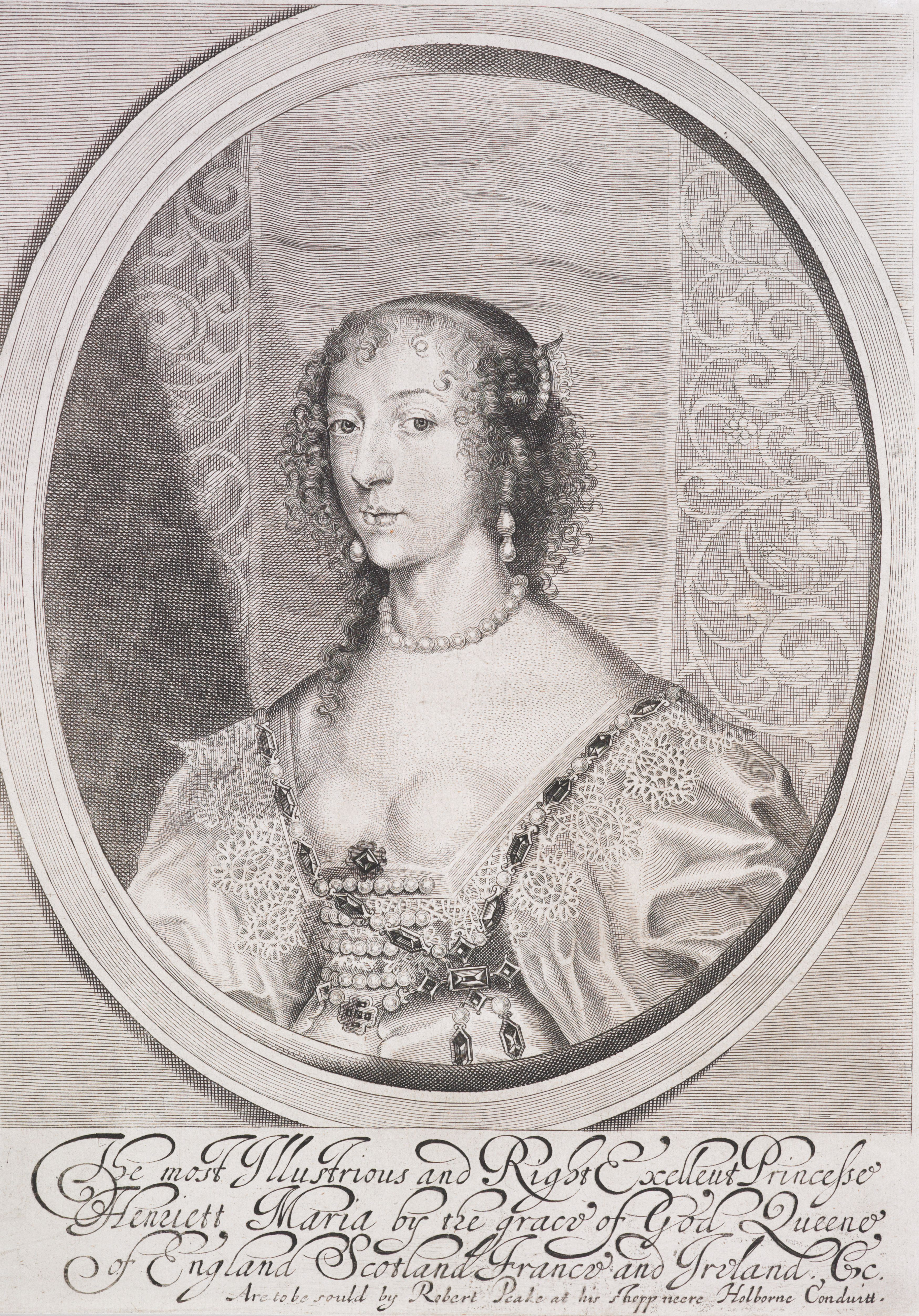 Etching of a lady in pearls and a low-cut bodice