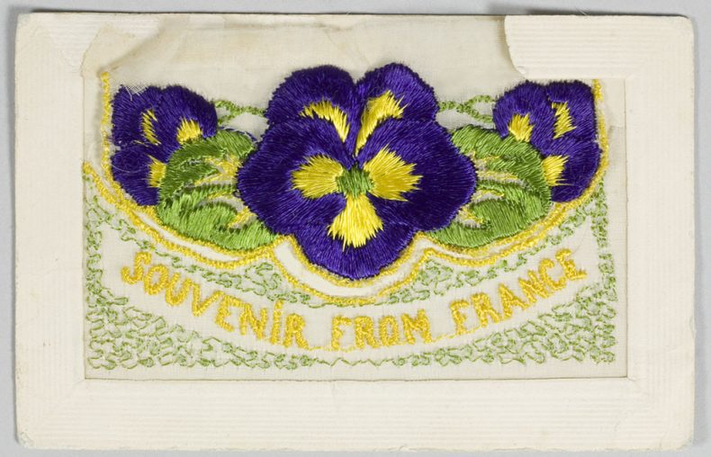 Embroidered floral postcard