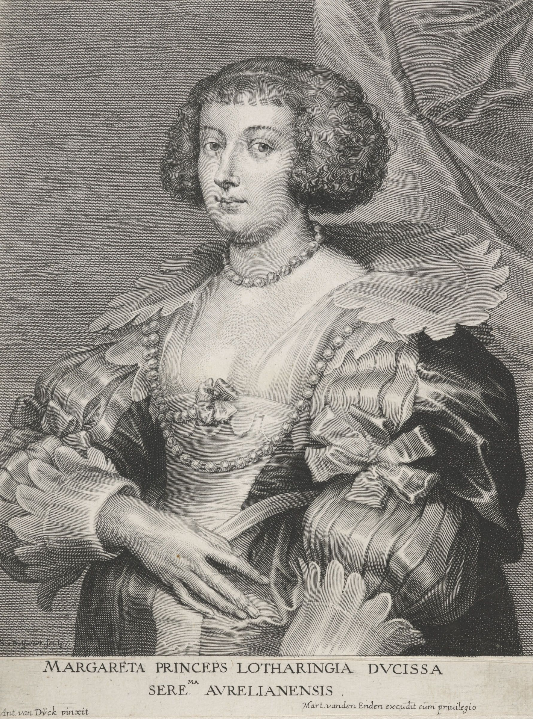 An etching of a lady in a very ornate dress