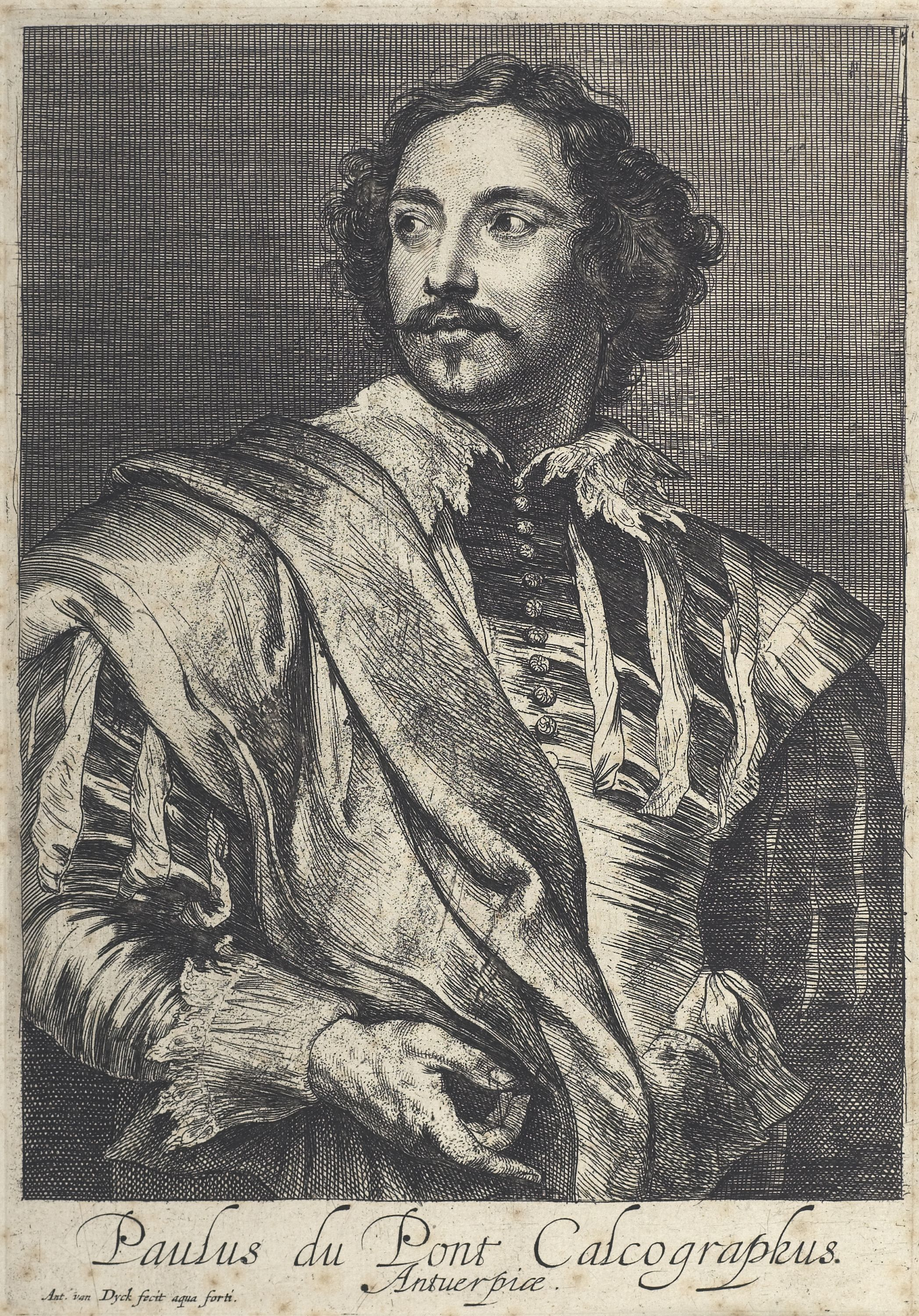 Etching of a man in his finery and a mustache