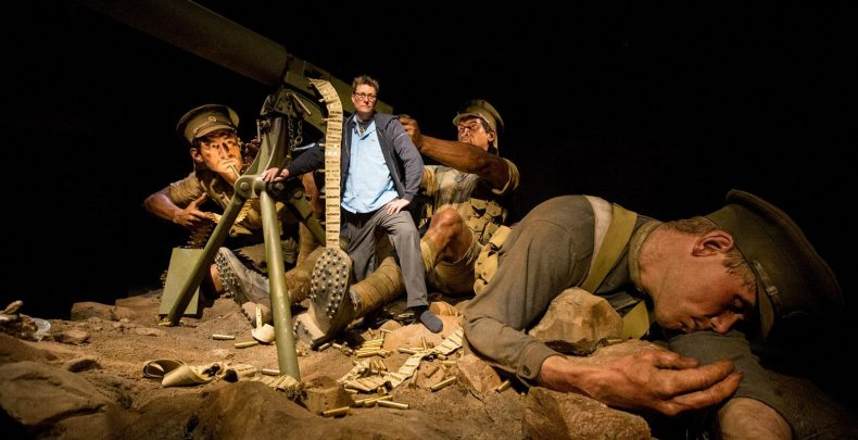 Richard Taylor stands with some of the giants in the Gallipoli exhibition