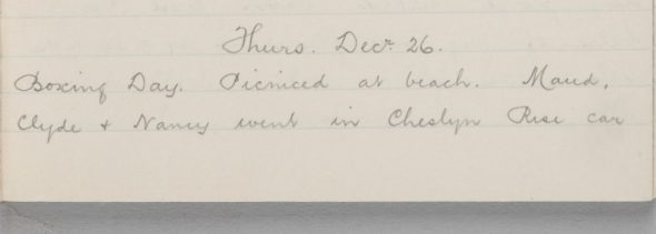 Handwritten diary entry for 26 December 1918
