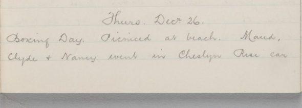 Handwritten diary entry for 26 December 1918
