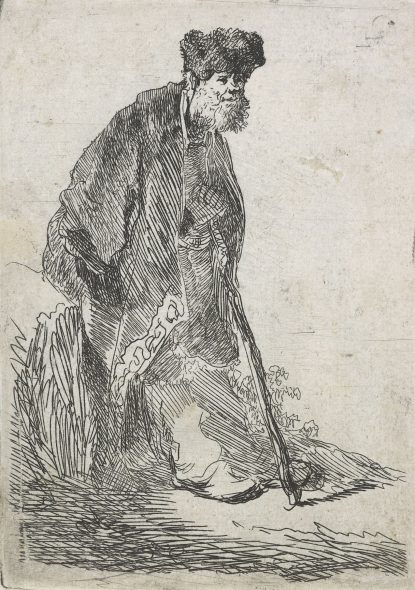 Rembrandt's 'Man in a coat and fur cap leaning against a bank'