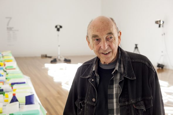 Bill Culbert during installation of Daylight flotsam, Venice at Te Papa, 2014