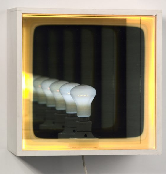 Bill Culbert, Bulb reflection 1, 1971, painted wood, electric light bulb and flex, Te Papa (1978-00021-1)
