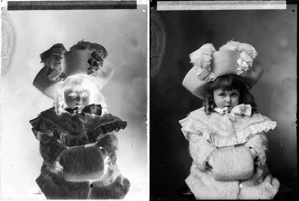 Side by side comparison of a photograph of a girl wearing a large hat and a muff covering her hands. On the left is the photograph's negative, on the right is the positive