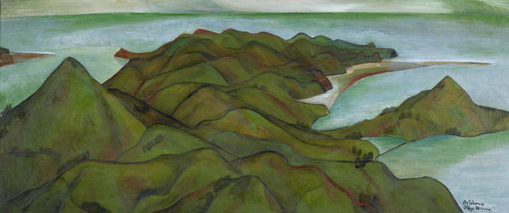 A landscape painting of rolling hills and the sea, the main colours are green and blue