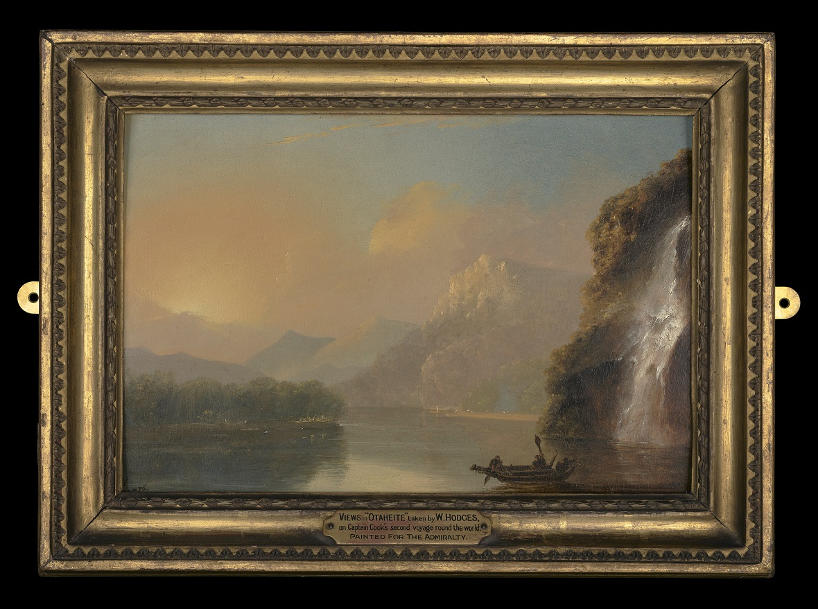 A painting by William Hodges showing a Māori man and women in a double-hulled waka. They are in a stunning fiord location with mountains rising into the distance and a waterfall cascading down the hill on the right hand side.