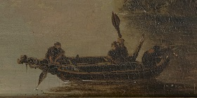 detail of Te Papa's Hodges painting showing the distinctive double-hulled waka, waka unua.