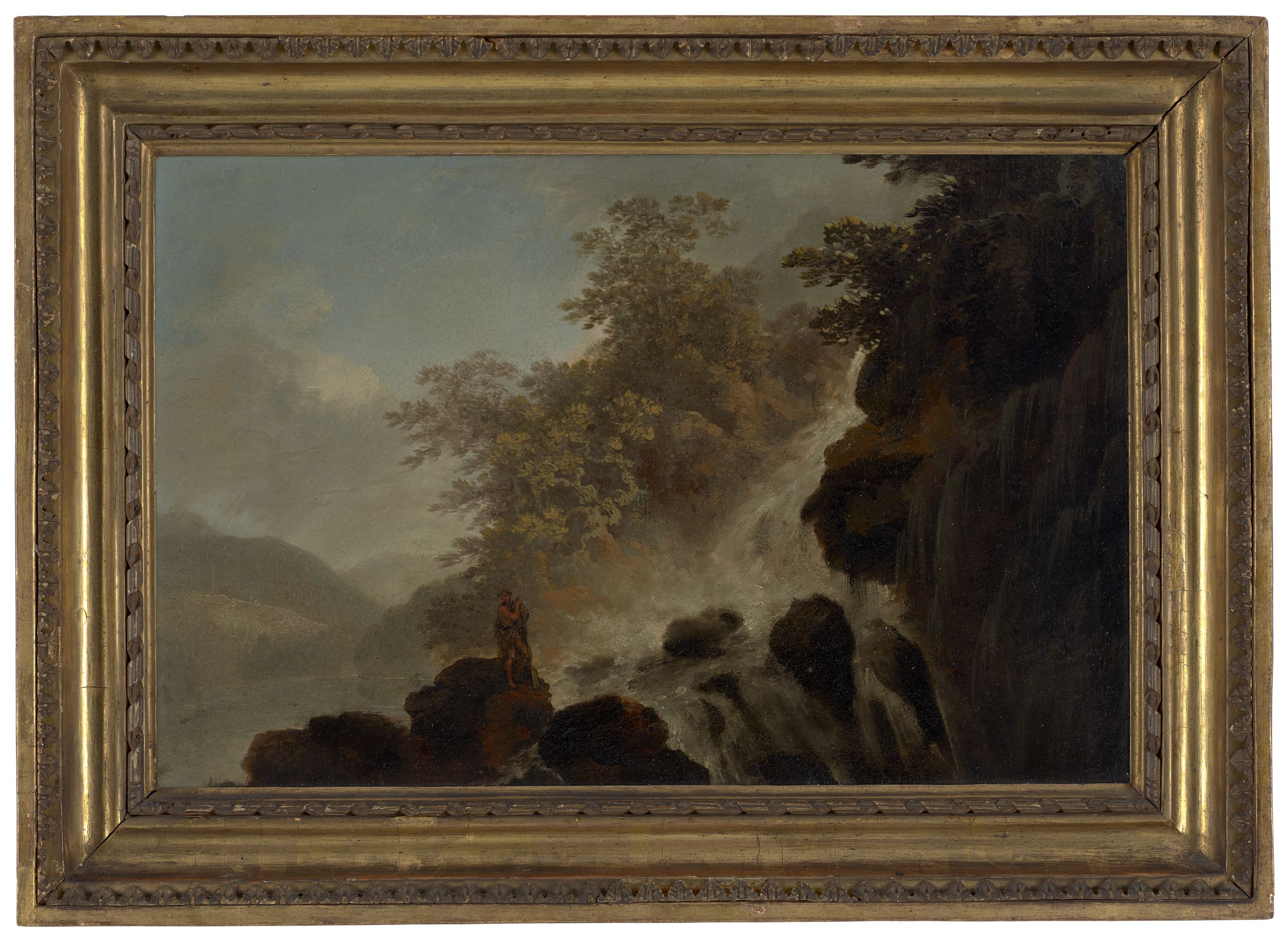 This painting shows a Māori man standing on a rocky outcrop in front of a cascading waterfall