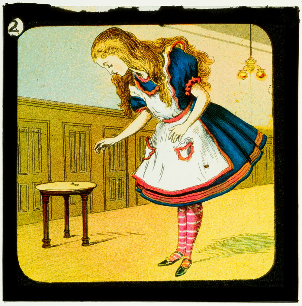 Illustration of Alice picking up a key from a table