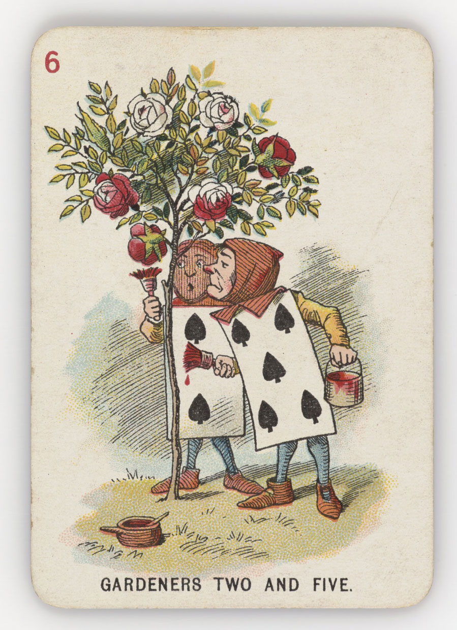 Illustration of men with playing cards for bodies, holding paint buckets and brushes. They're standing by some roses
