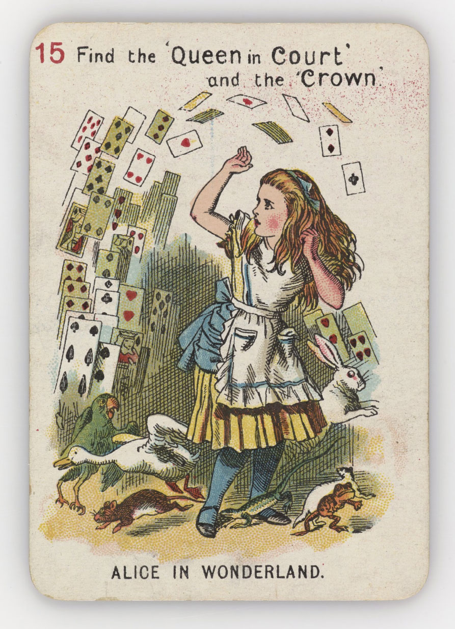 Illustration of Alice surround by a flying deck of cards