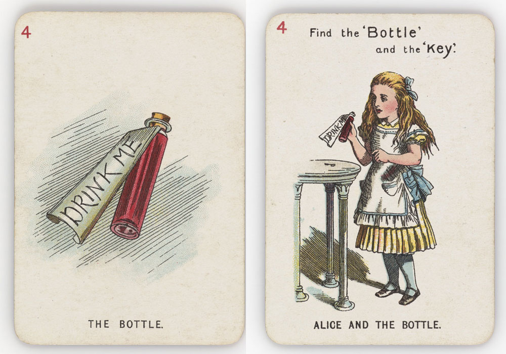 Playing cards with illustrations of Alice and a bottle with a label saying 'drink me'