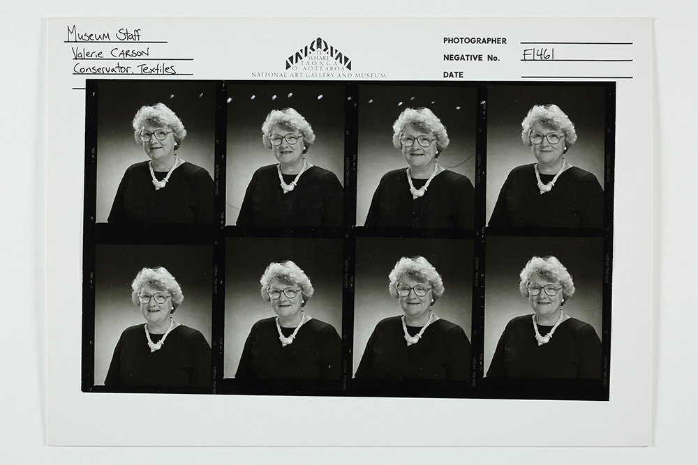 Contact sheet of photos for Valerie Carson