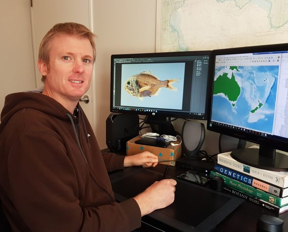 Carl Struthers is working on a scientific manuscript describing three new species of fish.