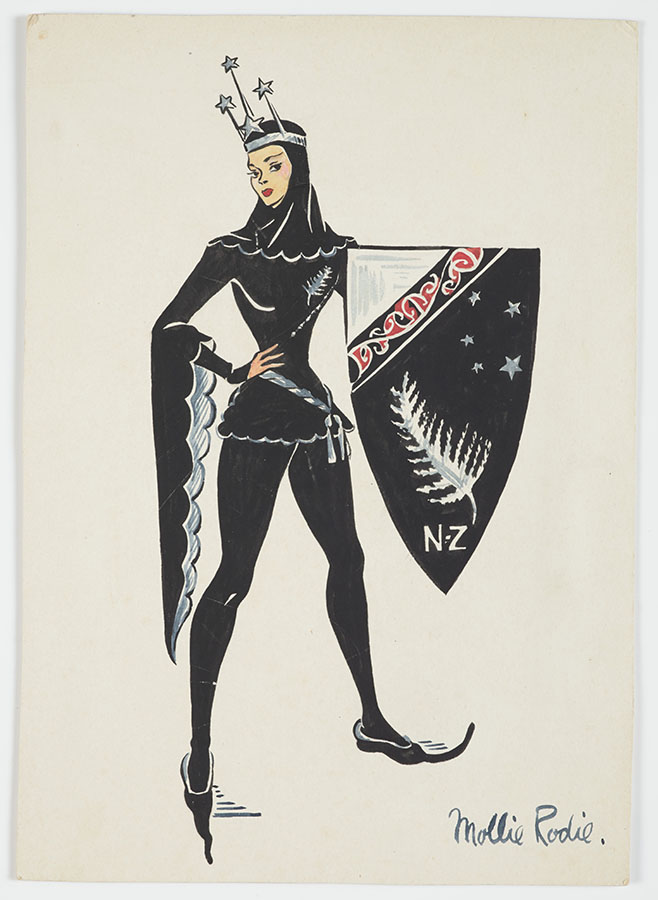 Drawing of a person in a black costume holding a red, white and black sheild with the silver fern and Māori designs on it.