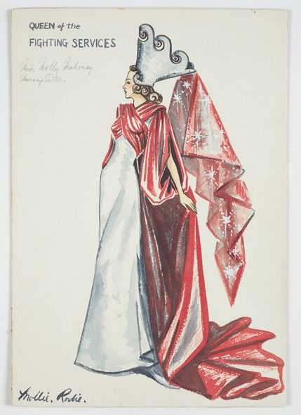 Paper drawing of a woman in a white dress with a red cape and a white hat with a red sash flowing from it.