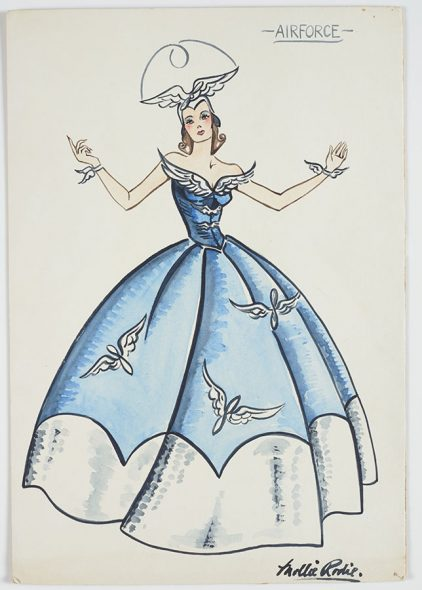 Paper drawing of a woman in a blue and white dress with a large white hat, with arms raised up to the side