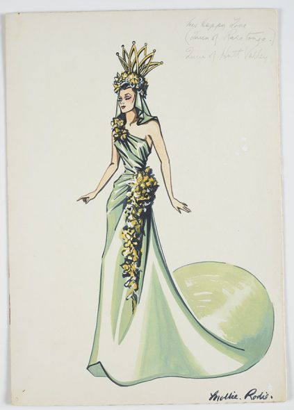 Paper drawing of woman in a green one-shoulder green and gold dress with a green and gold crown