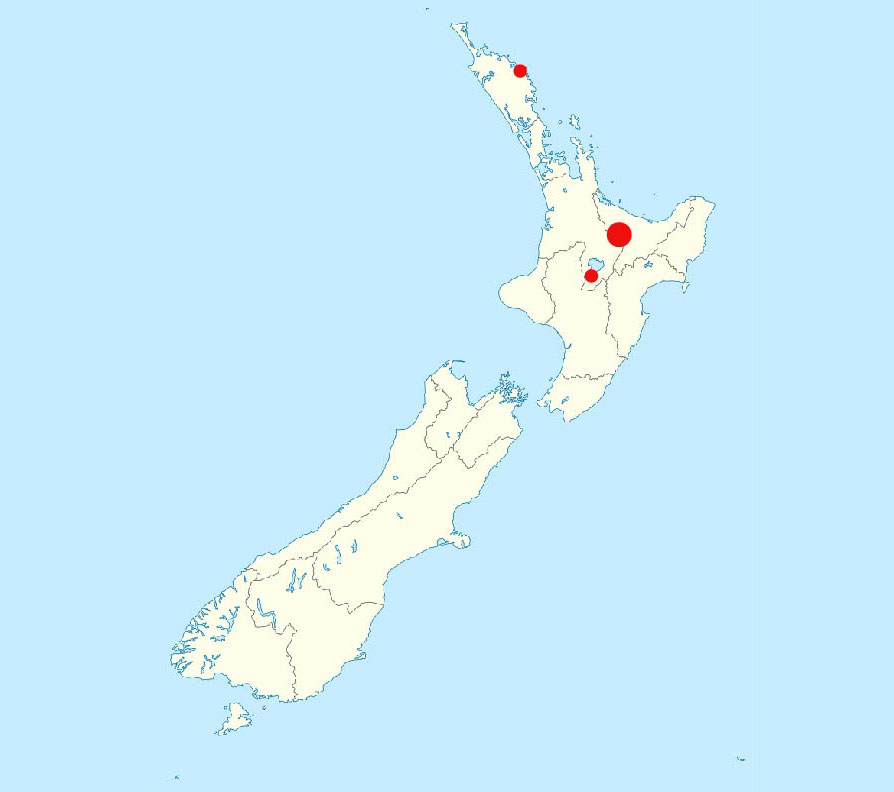 Map showing the locations of the Taupō volcanic zone, Rotorua, and also at Ngawha Springs in Kaikohe