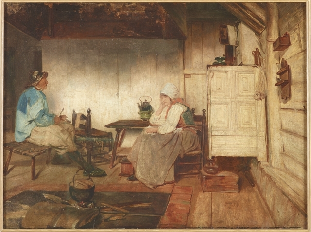 Pictures a cottage interior with man and woman seated at a table