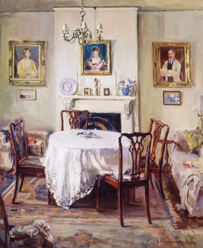 Painting of a domestic interior, an empty table covered with an oversized white cloth, and four empty chairs. The walls have three portraits on them.
