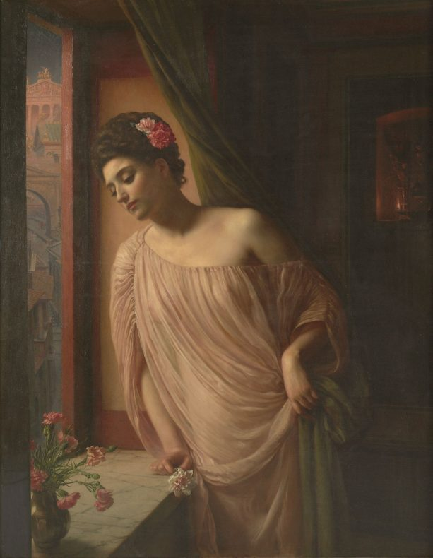 Painting of a woman leaning on a windowsill that has a vase of flowers on it. Behind her is a dark curtain and the dark interior of a room.