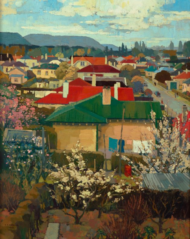 Painting of a view from a window across coloured roofs and houses in a suburban setting. Mountains and cloudy sky in the background.