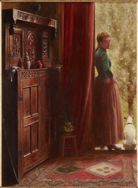 Painting of a wooden wall cabinet next to an open door, with woman and dog on the doorstep. in the foreground is a red carpet and there's a red curtain at the doorway. The woman turned to look back at the artist.