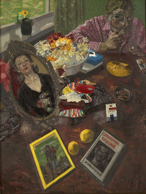 Looking down on a table covered with books, lemons, cigarettes and ash trays, a woman's reflection in a mirror and a man staring at us from across the table, looking through a magnifying glass.