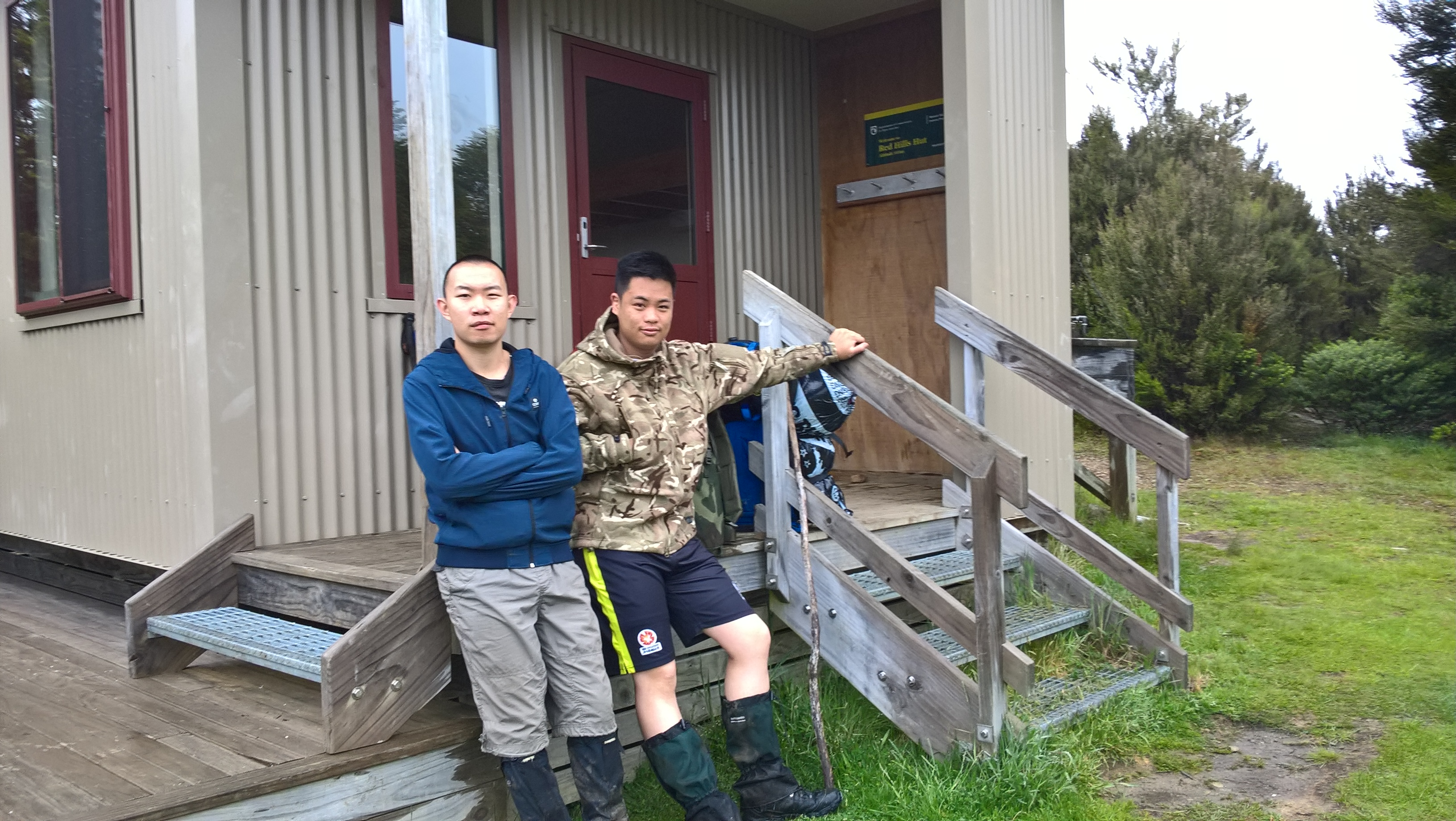 Weixuan and Justin at a hut in the Richmond Range. Dec 2018. Photo by Heidi Meudt @ Te Papa.