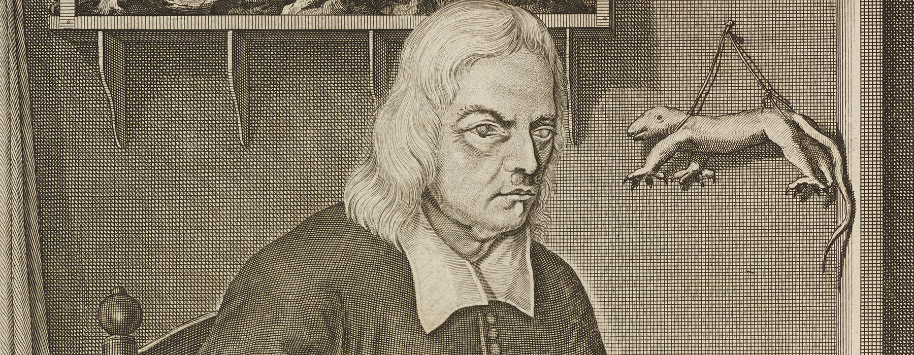 Illustration of a botanist show the glaucoma in his eyes. A skinned animal hangs on the wall behind him