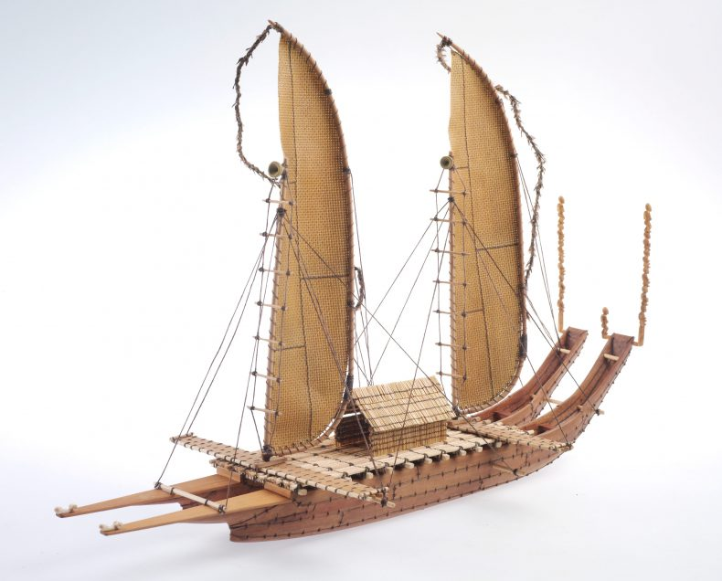 A model of a polynesian double-hulled canoe