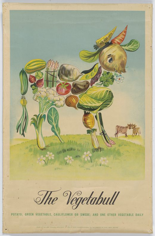 "A poster of a bull made from vegetables with ""The Vegetebull: Potato, green vegetable, cauliflower or swede; and one other vegetable daily"