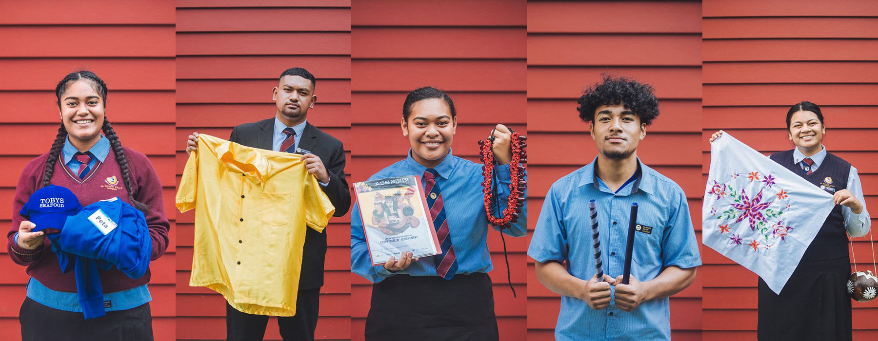Composite of five photos of three young women and two young men holding their objects for the co-collecting project. They are holding a seafood shop uniform, a yellow shirt, a necklace, drum sticks, and a pillowcase
