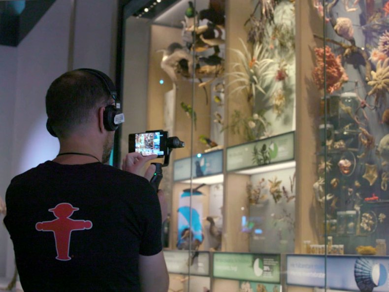 A man holding a camera in front of a specimen wall