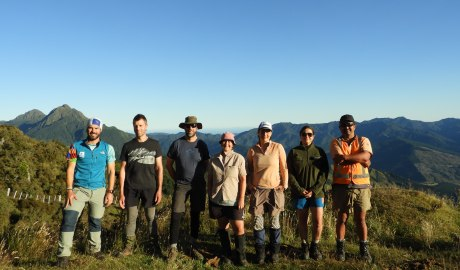 The awesome team standing outside Hikurangi Hut, ready to start botanising! Santiago, Ant, Scott, Kerry, Tui and Graeme. 31 Jan 2020. Photo by Santiago Martín-Bravo.