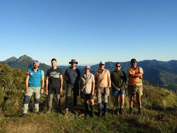 The awesome team standing outside Hikurangi Hut, ready to start botanising! Santiago, Ant, Scott, Kerry, Tui and Graeme. 31 Jan 2020. Photo by Santiago Martín-Bravo.