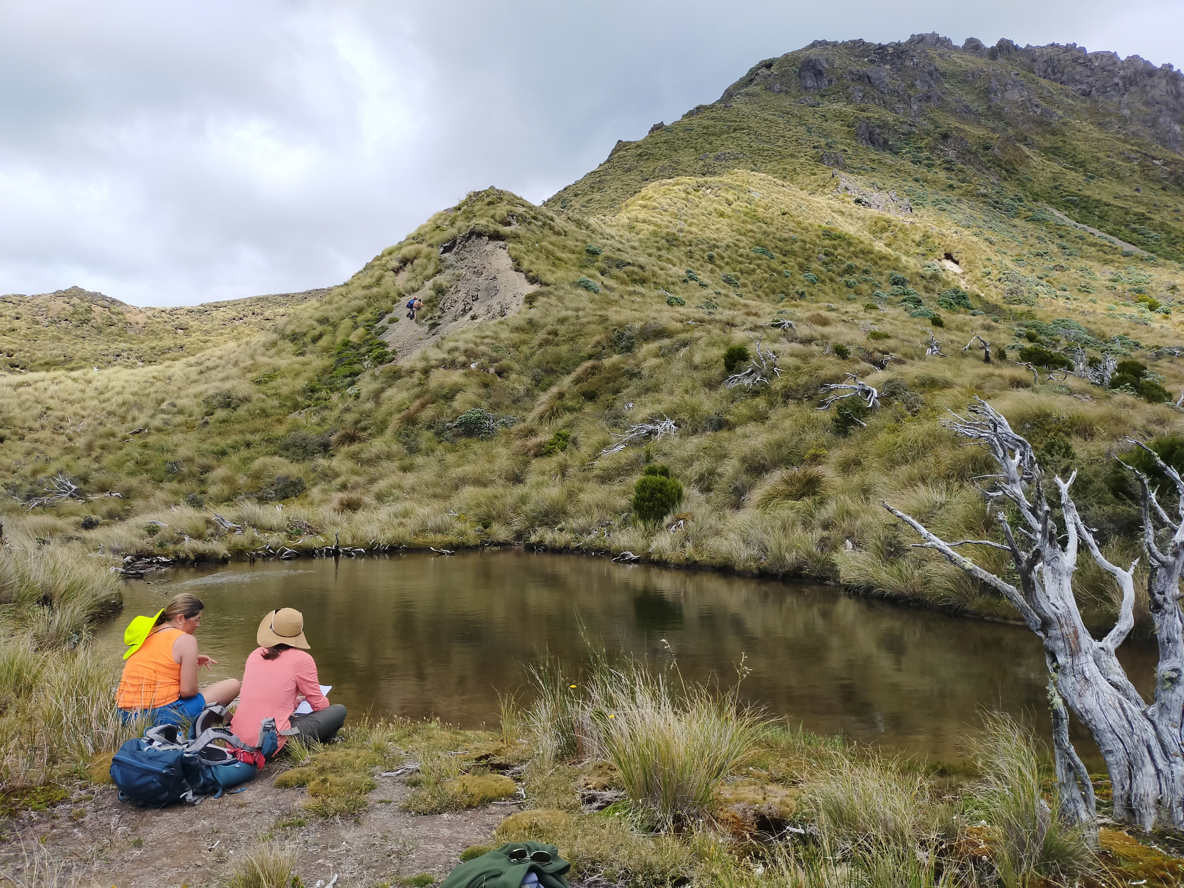 Two people and a pack sitting beside a pond high up on a grassy mountain. There are two other people on the hill in the middle distance.